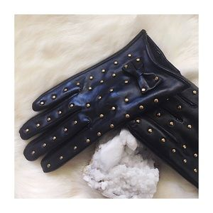 Black Faux Leather Gold Stud Gloves